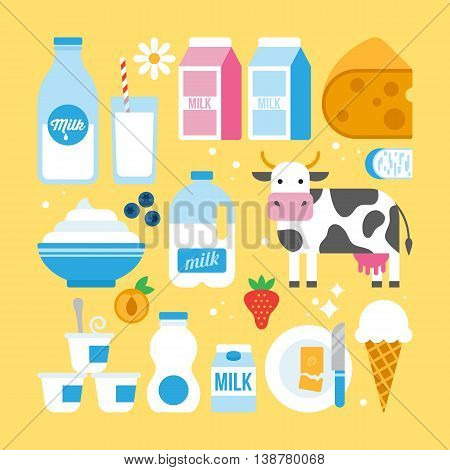 Milk and dairy products icons fro web and graphic design. Milk cheese yogurt butter cow and fruits icons.