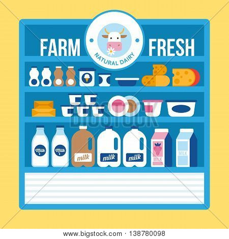 Farm fresh natural dairy products on supermarket shelf. Milk yogurt cheese icons for graphic and web design