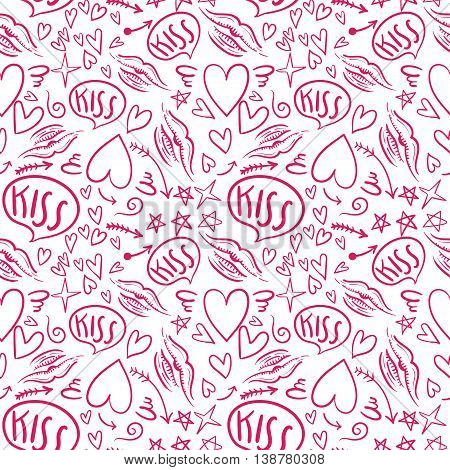 Hand drawn vector seamless pattern with a lipstick kiss prints on white background.