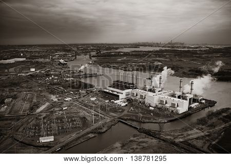 New Jersey oil industry with New York City skyline from afar aerial view