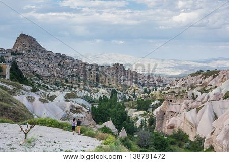 Pigeon valley and Ushisar castle in Cappadocia Central AnatoliaTurkey