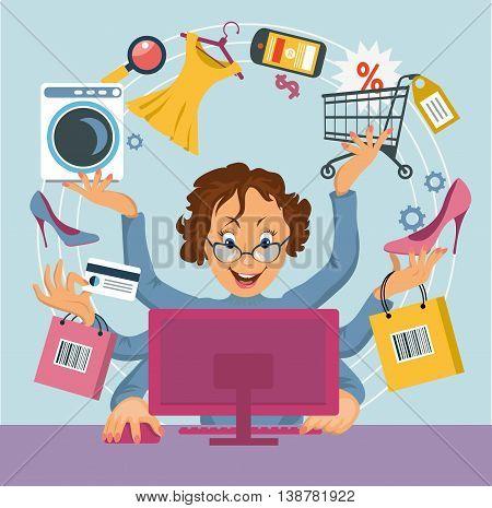 multiarm woman shopped online store. E-shopping concept.
