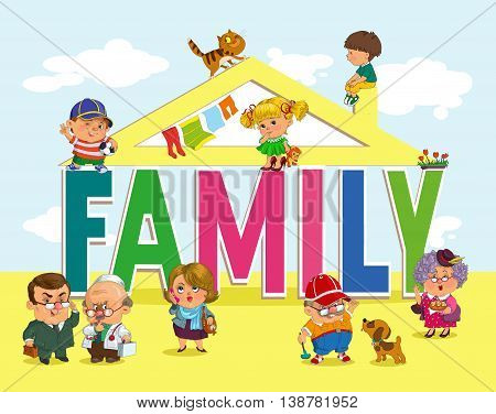 Word family with fun and happy children and adults.