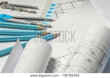 Workplace Of Architect - Architect Rolls And Plans. Architectural Plan,technical Project Drawing. En