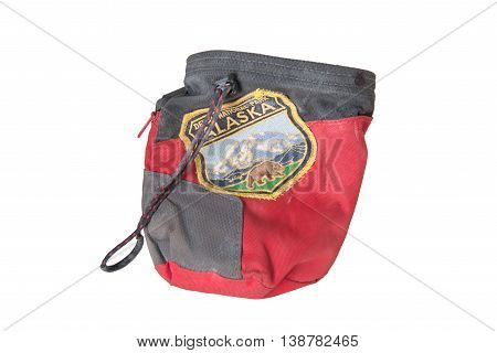 red climbing chalk bag with Denali National Park patch