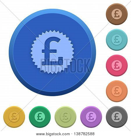 Set of round color embossed pound sticker buttons