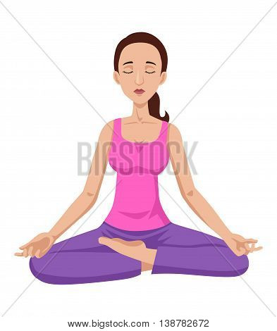 Cartoon illustration of a woman meditating isolated on white