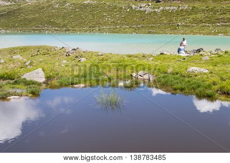 Tourists At Rifflsee In Austria In Summer, Editorial