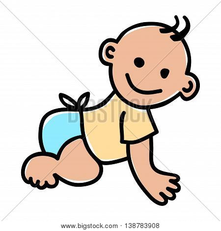 Doodle illustration of a baby isolated on white