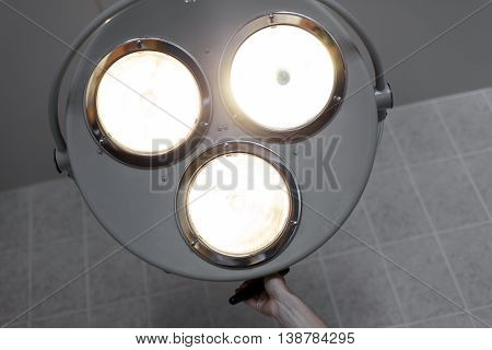 Bright Light From The Operating Lamp. Medical Equipment