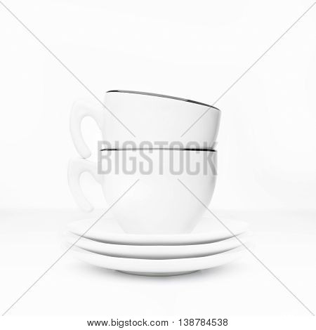 Tea Cup And Saucers On A White Background