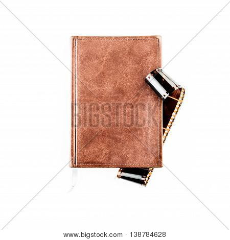 brown notebook for note on white background