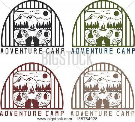 Adventure Camp With Elements Of Hiking And Boots Vintage Labels Set