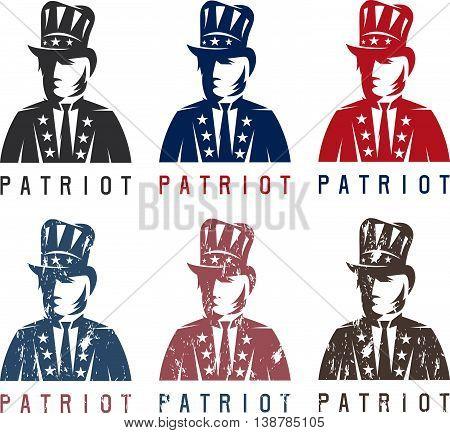 Patriotic Uncle Sam Vintage Vector Labels Set