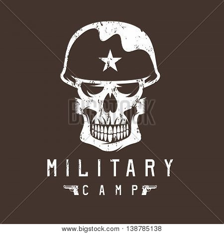 Military Camp Grunge Emblem With Skull And Guns