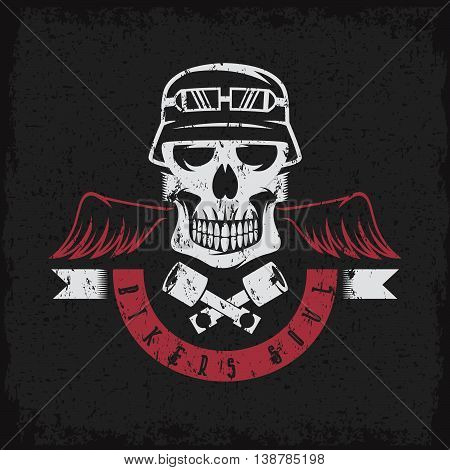 Biker Theme Grunge Label With Pistons ,wings And Skulls