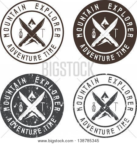 Set Of Vintage Labels Mountain Adventure, Hiking And Climbing