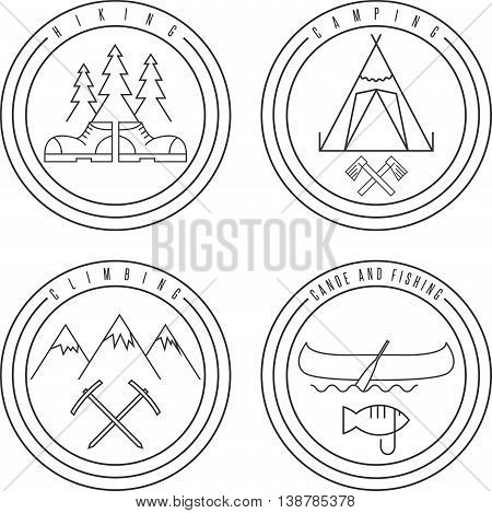 Line Art Labels With Canoe,camping,climbing And Hiking