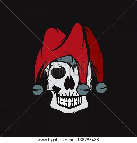 Skull In Jester Cap Vector Design Template