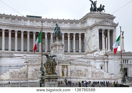 ROME, ITALY - APRIL 6, 2016:  Altar of the Fatherland (Altare della Patria) 1925. Piazza Venezia . Vittorio Emanuele II in Rome, Italy