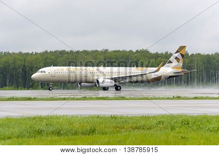 MOSCOW, RUSSIA - MAY 19, 2016: Etihad airlines Airbus A321 take off to the runway at Domodedovo International airport.