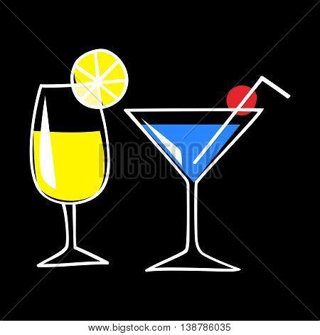 Line art illustration of cocktails on black background