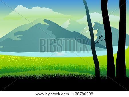 Illustration of a landscape of mountains and grass land