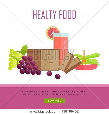 Healthy food concept web banner. Flat style design. Illustration of various food bread, juice, sausage, fruits and vegetables on white background for diet infographics, stores, cafe web pages design.