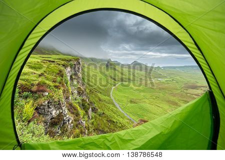Camping in Scotland - Astonishing View of Quiraing Hill from the Inside of Tent