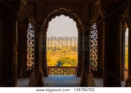 The Detail Of Wall . Agra Fort, Agra, India