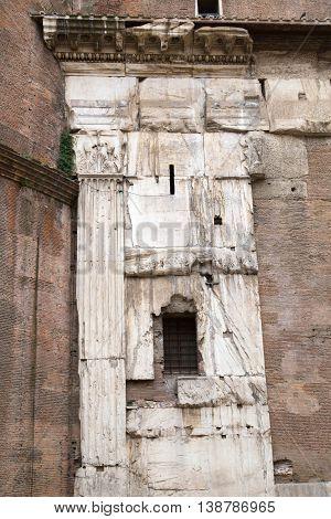 ROME, ITALY - APRIL 6, 2016: Pantheon ancient walls