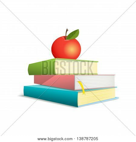 Three colorful books are located one above the other. Apple lays on a pile of books. Vector illustration. Comic style. Isolated. On a white background.