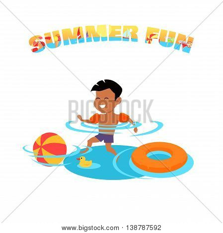 Summer fun concept vector. Family holiday and leisure with children on seacoast. Games in the pool. Flat style design illustration. Kid swimming and have fun in water. Isolated on white background.