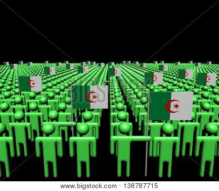 Crowd of abstract people with many Algerian flags 3d illustration
