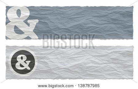 Two colored banners of crumpled paper and ampersand