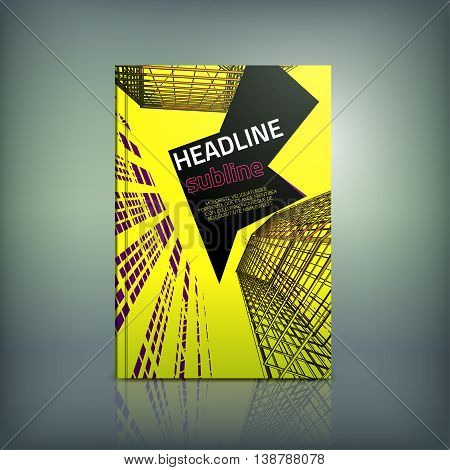 Vector business brochure cover template. Modern backgrounds for poster, print, flyer, book, booklet, brochure and leaflet design. Editable graphic collection in violet, yellow and black colors