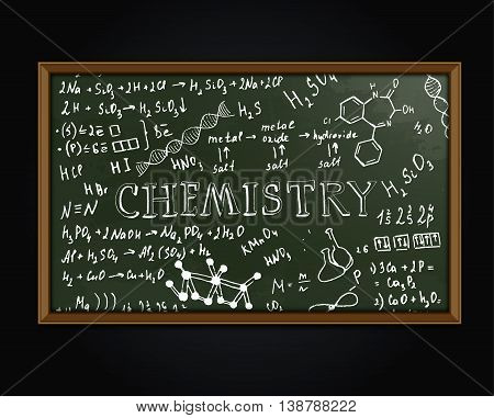 Chemistry blackboard vector illustration. Editable graphic image. Hand drawn typography on a textured chalkboard.