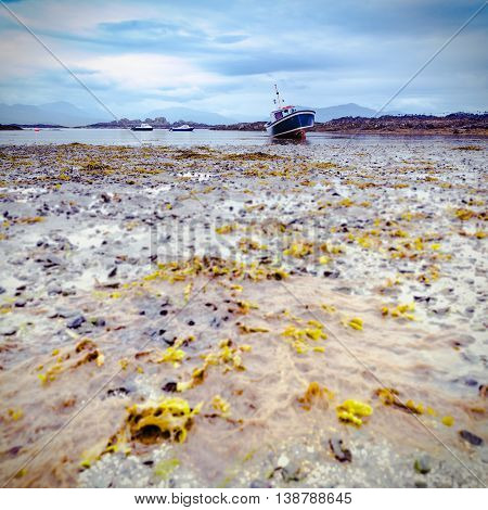 Low Tide Boats at the Scottish Coast of the Isle of Skye