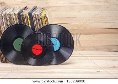 Vinyl Record With Copy Space In Front Of A Collection Of Albums Dummy Titles , Vintage Process