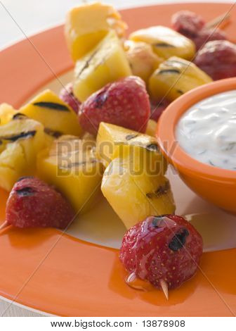 Caramelised Fruit Brochette with Honey Creme Fraiche