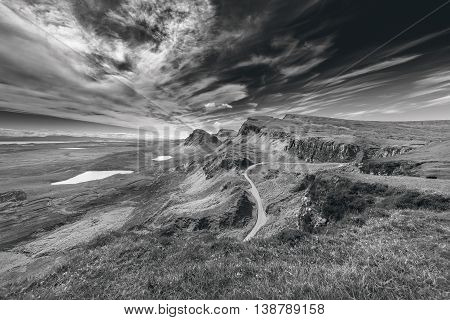 Northwest Part of Quiraing Hill - The Table on the Isle of Skye in Scotland - Black and White Edit