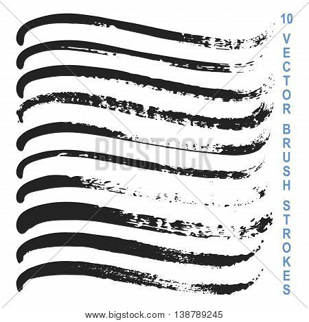 Set of 10 vector grungy artistic brushes. Messy hand drawn mascara, pencil and ink strokes isolated on white background. Qualitative trace of real texture. Art Brushes included in EPS file