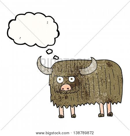 freehand drawn thought bubble textured cartoon hairy cow