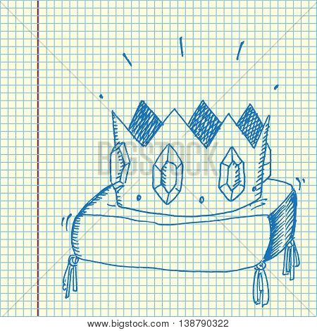 Golden crown with jewels. Hand drawn vector stock illustration. Sheet ball pen drawing.