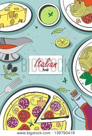 Vector cooking banner template with hand drawn objects on italian food theme: pizza pasta tomato olive oil olives cheese lemon sauce.