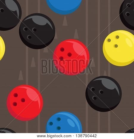 Seamless texture with bowling balls and bowling alley. Pattern on the sports theme