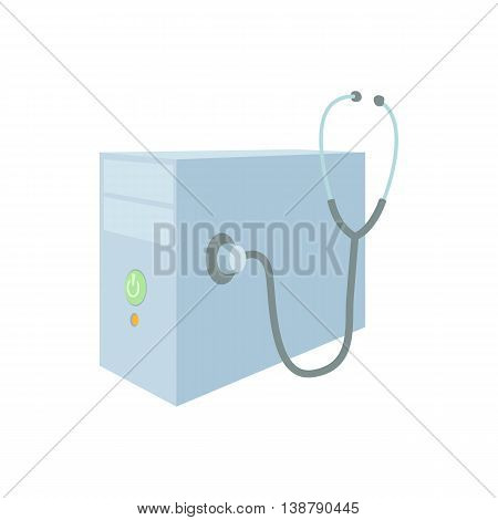Repair of computer system unit icon in cartoon style isolated on white background. Technique symbol
