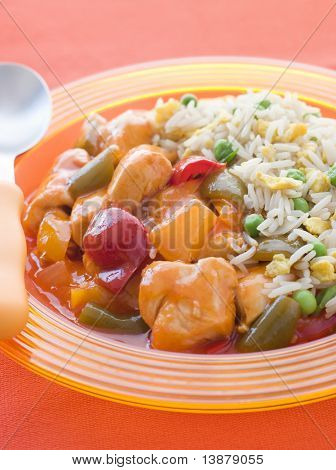 Sweet and Sour Chicken with Egg Fried Rice