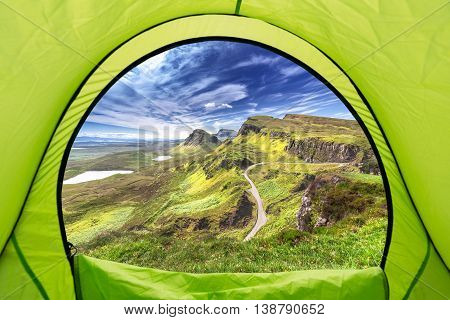 View from the Inside of Tent at High Altitude in Scottish Highlands