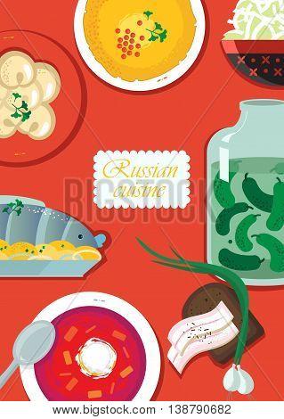Set Russian national food. Food illustration russian cuisine with pancake dumplings borscht herring sauerkraut pickles bacon